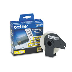Brother Die-Cut File Folder Labels, 0.66 in x 3.4 in, White, 300/Roll
