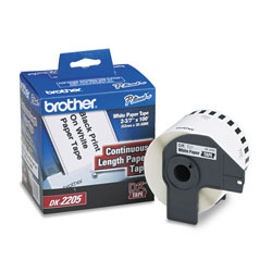 Brother Continuous Paper Label Tape, 2.4 in x 100 ft Roll, White
