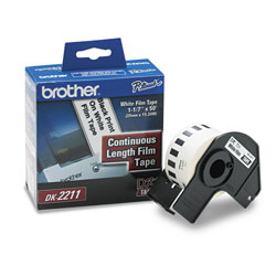 Brother Continuous Film Label Tape, 1.1 in x 50 ft Roll, White