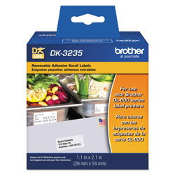 Brother Die-Cut Removable Paper Labels, 1.1 in x 2.1 in, White, 800/Roll
