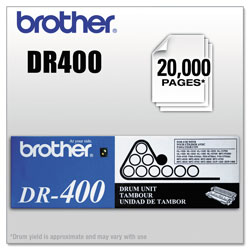 Brother DR400 Drum Unit, 20000 Page-Yield, Black