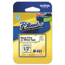 Brother M Series Tape Cartridge for P-Touch Labelers, 0.47 in x 26.2 ft, Black on White
