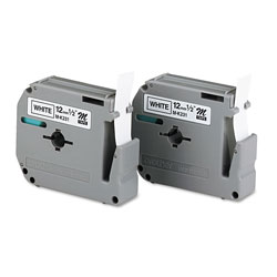 Brother M Series Tape Cartridges for P-Touch Labelers, 0.47 in x 26.2 ft, Black on White, 2/Pack