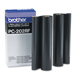 Brother PC-202RF Thermal Transfer Refill Roll, 450 Page-Yield, Black, 2/PK