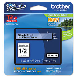 Brother TZe Standard Adhesive Laminated Labeling Tape, 0.47 in x 26.2 ft, Black on Clear