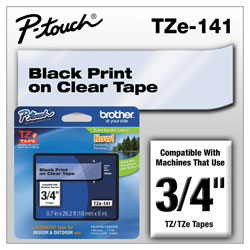 Brother TZe Standard Adhesive Laminated Labeling Tape, 0.7 in x 26.2 ft, Black on Clear