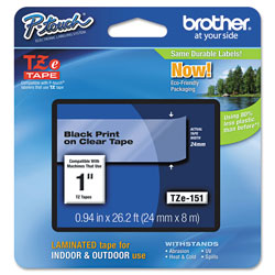 Brother TZe Standard Adhesive Laminated Labeling Tape, 0.94 in x 26.2 ft, Black on Clear