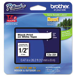 Brother TZe Standard Adhesive Laminated Labeling Tape, 0.47 in x 26.2 ft, Black on White