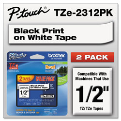 Brother TZe Standard Adhesive Laminated Labeling Tapes, 0.47 in x 26.2 ft, Black on White, 2/Pack