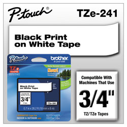 Brother TZe Standard Adhesive Laminated Labeling Tape, 0.7 in x 26.2 ft, Black on White