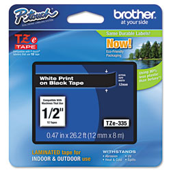 Brother TZe Standard Adhesive Laminated Labeling Tape, 0.47 in x 26.2 ft, White on Black