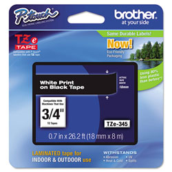 Brother TZe Standard Adhesive Laminated Labeling Tape, 0.7 in x 26.2 ft, White on Black