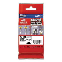 Brother TZe Extra-Strength Adhesive Laminated Labeling Tape, 0.47 in x 26.2 ft, Black on White