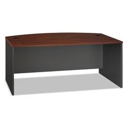 Bush Series C Collection 72W Bow Front Desk Shell, 71.13w x 36.13d x 29.88h, Hansen Cherry/Graphite Gray