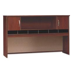 Bush Series C Collection 2 Door 72W Hutch, Box 2 of 2, 71.13w x 15.38d x 43.13h, Hansen Cherry/Graphite Gray