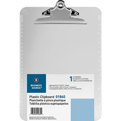 Business Source Clipboard, Plastic, w/Spring Clip, Ruler, 9 inx12 in, Clear