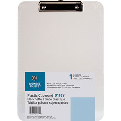 Business Source Clipboards, Plastic, w/Flat Clip, 9 inx12 in, 6/Bundle, Clear