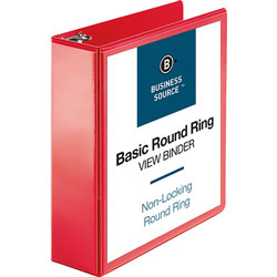 Business Source View Binder, Round Ring, 3 in, Red