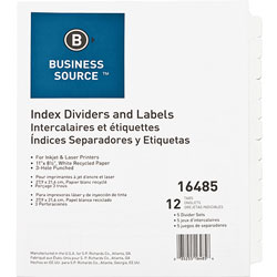 Business Source 12-Tab Indexed Sheet Dividers, White