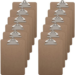 Business Source Clipboards with Standard Metal Clip, 6 in x 9 in, 12/BX, Brown
