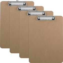 Business Source Clipboards with Flat Clip/Rubber Grips, 9 in x 12-1/2 in, 6/BX, Brown