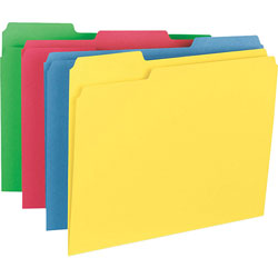Business Source Heavyweight File Folders, Assorted Colors