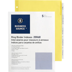 Business Source Binder Indexex, 2 in Tabs, 11'' x 8-1/2 in, 5-Tab, 50ST/BX