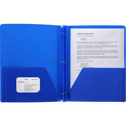 Business Source Poly Portfolio, 3 Prong, 2 Pockets, Letter, .3mil, Blue