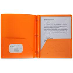 Business Source Poly Portfolio, 3 Prong, 2 Pockets, Letter, .3mil, Orange
