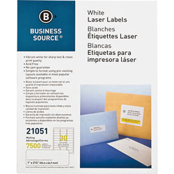 """Business Source Mailing Label, Laser, 1""""x2-5/8"""", 7500/PK, White"""
