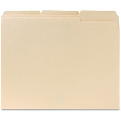 Business Source File Folders, 1/3 Cut Assorted Tab, 2-Ply, Ltr, 100/BX, Manilla