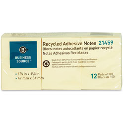 Business Source Recycled Notes, 1 in x 2-1/2 in, 12/PK, Yellow