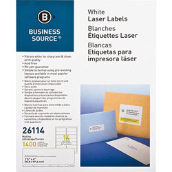"Business Source Label, Mailing, Laser, 1-1/3x4"", 1White"