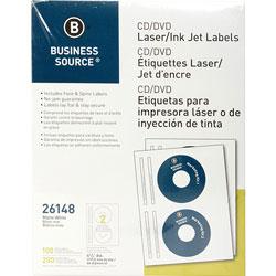 Business Source Label, CD/DVID, Laser/Inkjet, White
