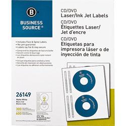 Business Source Label, CD/DVID, Laser/inkjet, 300 Pack, White