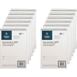 Business Source Steno Notebook, Gregg Ruled, 6 inx9 in, 60 Sheets, 12/PK, White Paper