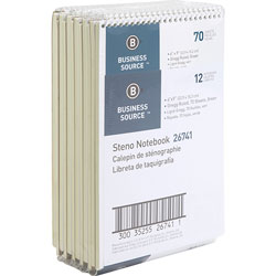Business Source Steno Notebook, Gregg Ruled, 6 inx9 in, 70 Sheets, 12/PK, Green Paper