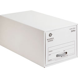 Business Source Letter Sized Storage Drawer, 14-1/4 in x 25-1/4 in x 11-1/2 in, 6/CT, White