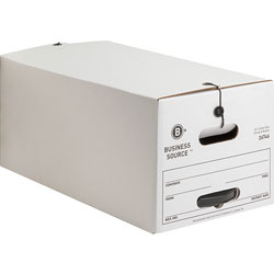 Business Source Storage Boxes, Med Duty, Letter, 12CT, White