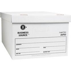 "Business Source Storage Box, Lift Off Lid, Legal, 15"" x 24"" x 10"", White"