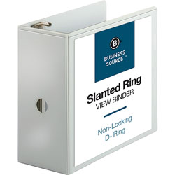 Business Source 39% Recycled D-Ring Binder, 5 in Capacity, White