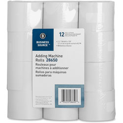 Business Source Adding Machine Rolls, 2-1/4 inx150', 12/Pack, White