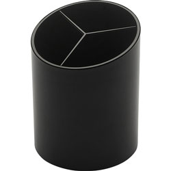 Business Source Large Pencil Cup, 3 Compartments, 3 inx3 inx4-1/8 in, Black