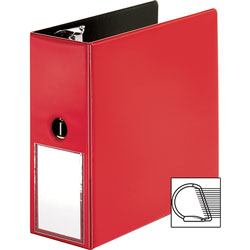 Business Source Slanted D-Ring Binder with Label Holder, 5 in, Red