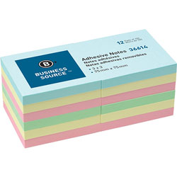 "Business Source Repositionable Notes, 3"" x 3"", 12 PD Pack, Assorted"