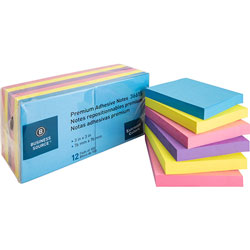 "Business Source Adhesive Notes, 100 Sheets, 3"" x 3"", Assorted Extreme"