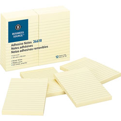 "Business Source Adhesive Notes, Ruled, 4"" x 6"", Yellow"