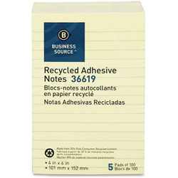 Business Source Recycled Notes, 4 in x 6 in, 5/PK, Yellow