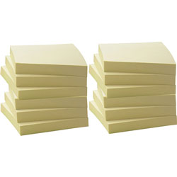 Business Source Recycled Notes, 3 in x 3 in, 12/PK, Yellow