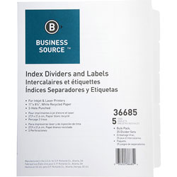 Business Source 5-Tab Indexed Sheet Dividers, White